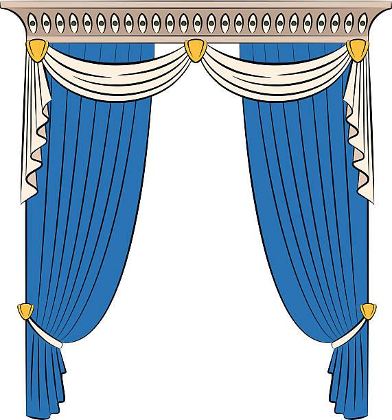 vintage-blau vorhang. vektor - stoffrollos stock-grafiken, -clipart, -cartoons und -symbole