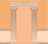 The vintage greek interior with columns. Vector