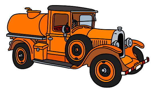 The vintage orange tank truck
