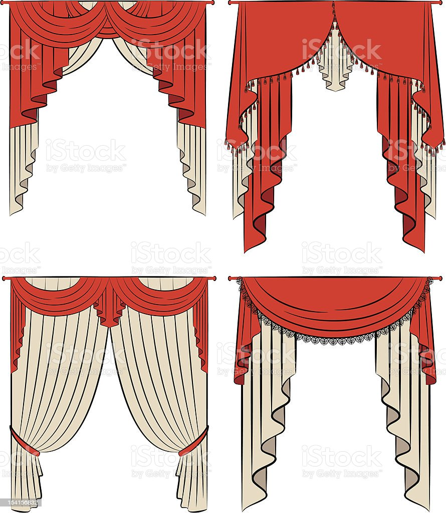 The vintage red curtain. Vector set vector art illustration
