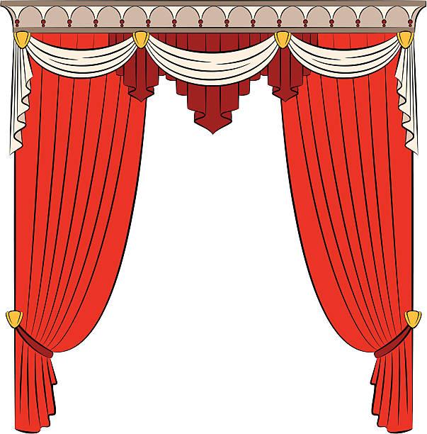 vintage roter vorhang. vektor - stoffrollos stock-grafiken, -clipart, -cartoons und -symbole