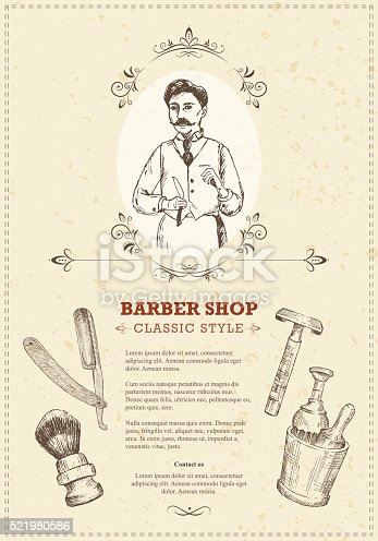 The vintage template of barber shop flyers in woodcut style.
