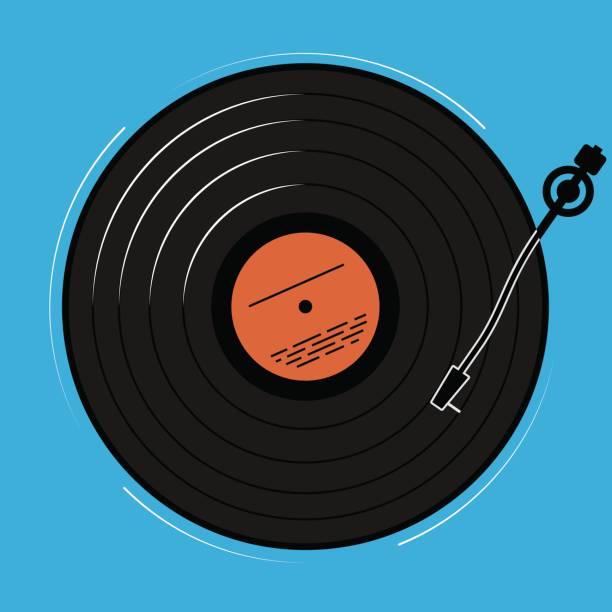 ilustrações, clipart, desenhos animados e ícones de o jogador de vinil mostrado esquematicamente e simplesmente. um registro com a música para um disco ou uma boate. - toca discos