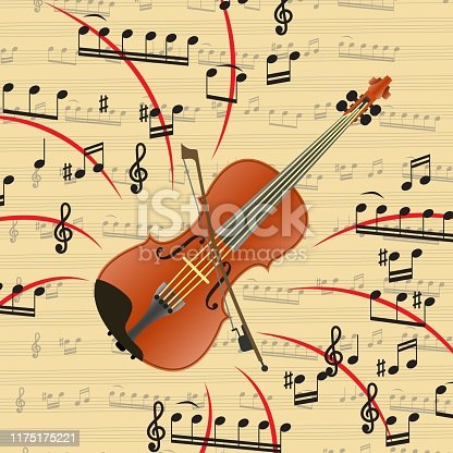 The violin is a bowed musical instrument. Art is an important part of human life. Violin is beautiful music and exciting melodies. Vector illustration.