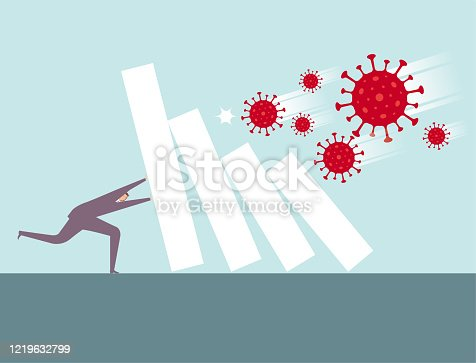 The virus hits and knocks down the statistics of the data, which has a huge impact on the economy.A man tried to save it.COVID-19 is red, the statistical graph is white, the businessman is wearing purple clothes, and the background is blue.
