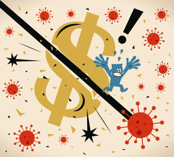 The virus (new coronavirus, covid-19) is hitting the U.S. economy, currency crisis vector art illustration