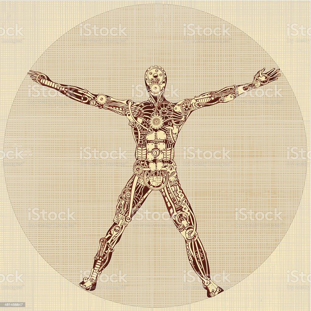 The Vitruvian Man. Remake of Leonardo da Vinci's drawing. v1.0 vector art illustration