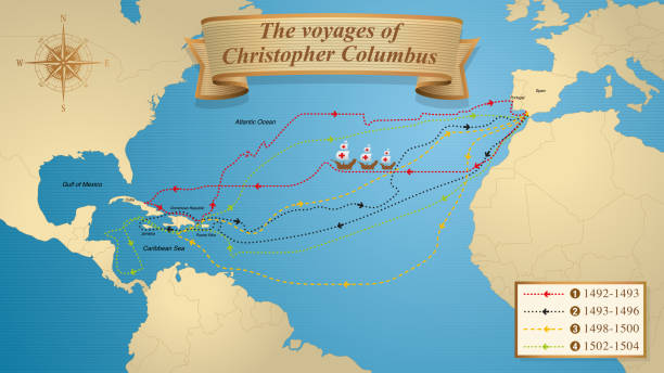 The voyages of Christopher Columbus. Map with the marked routes of the 4 trips of Columbus on a blue background adorned with a compass. Vector image The voyages of Christopher Columbus. Map with the marked routes of the 4 trips of Columbus on a blue background adorned with a compass and the dates of each trip. Vector image alejomiranda stock illustrations