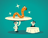 Blue Cartoon Characters Design Vector Art Illustration. The waiter (restaurant host) is serving food (a huge plate with a big mealworm on it) for the customer sitting at a table. Mealworms are rich in nutrients and protein, and they're an environmentally sustainable food source, with a lower carbon footprint compared to meat production.