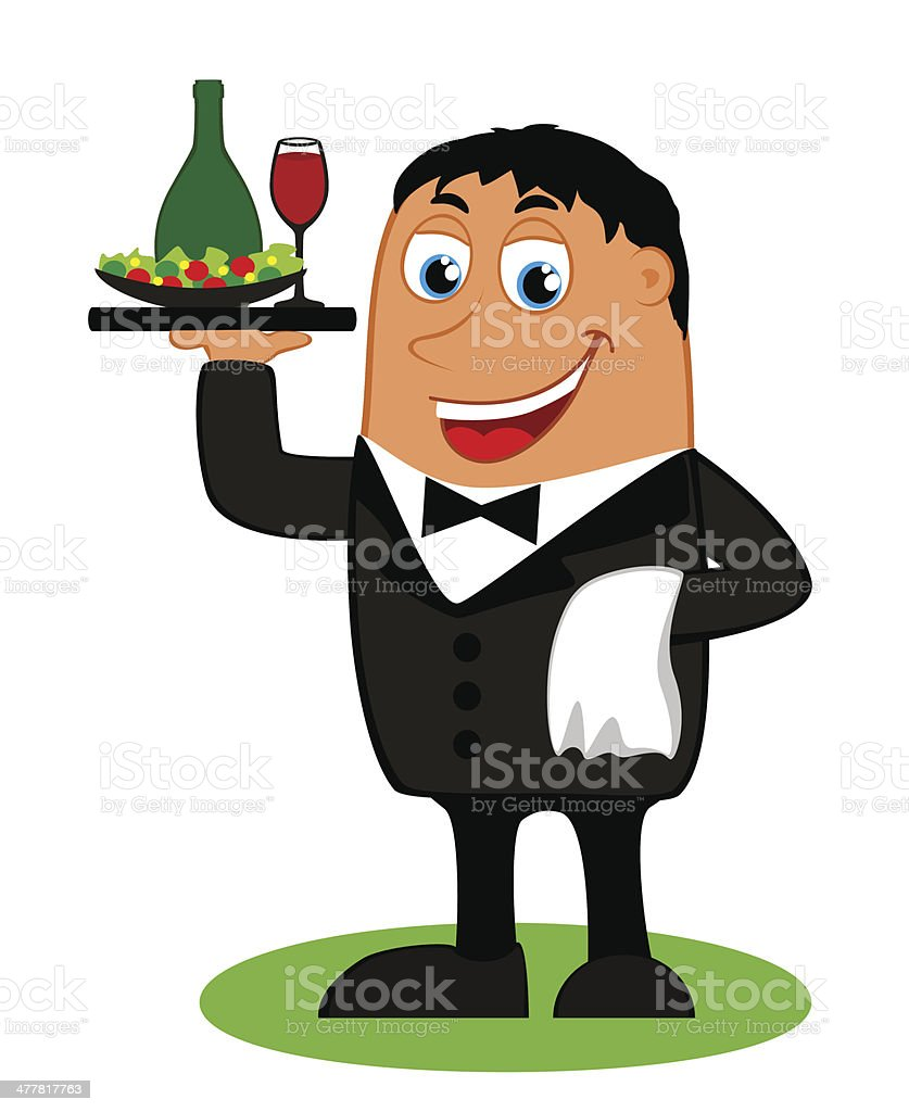 The waiter with tray of drinks and towel in hand royalty-free the waiter with tray of drinks and towel in hand stock vector art & more images of adult