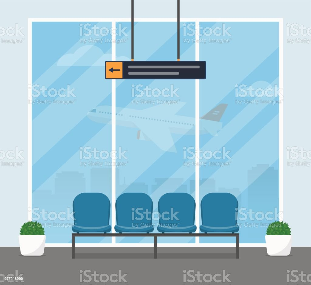 The waiting room at the airport. Modern interior of the airport building with blue armchairs for passengers awaiting departure. vector art illustration