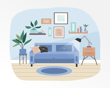The warm and cozy interior of the living room. Completed with decorative plants and small furniture. Blue pastel tones. Flat vector illustration.