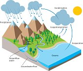 Isometric Water cycle diagram.