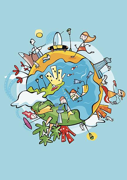 El agua sobre planeta Tierra. - ilustración de arte vectorial