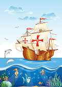 the water world with a sailing ship of Spain XV