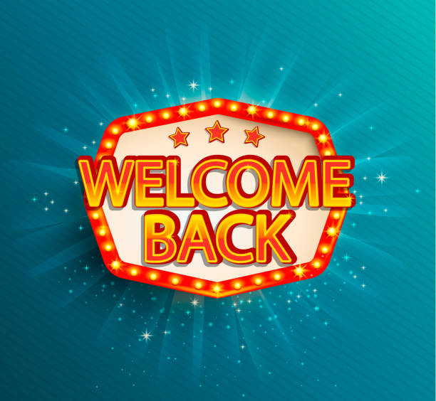 The welcome back retro banner with glowing lamps. The welcome back retro banner with glowing lamps. Vector illustration with shining lights frame in vintage style. Greetings to casino, gambling, cinema, city for travelers. back stock illustrations