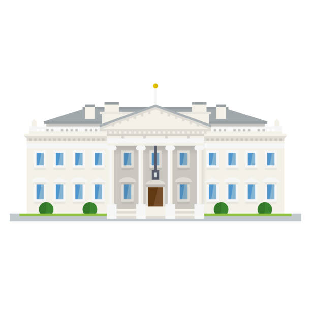 The White House at Washington, DC, flat design icon Flat design isolated vector icon of the White Huse at Washington, DC white house stock illustrations