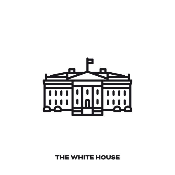 The White House at Washington, D.C., line icon White House at Washington, United States, vector line icon. International landmark  symbol. white house stock illustrations