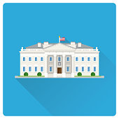 The White House at Washington flat design long shadow illustration