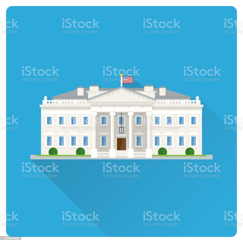The White House at Washington flat design long shadow illustration vector art illustration