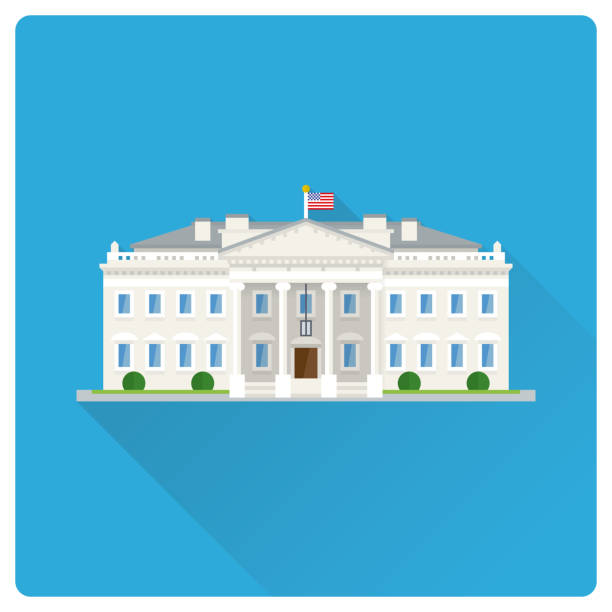 The White House at Washington flat design long shadow illustration Flat design long shadow vector illustration of The White House at Washington, DC white house stock illustrations