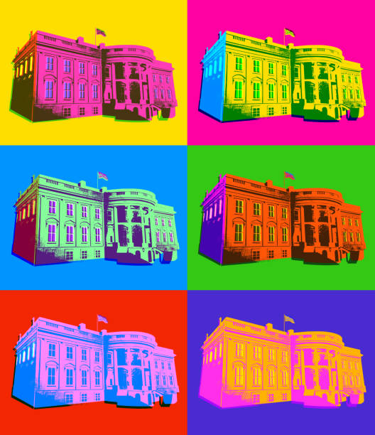 The White House in Pop Art Style Posterised or Pop Art styled White House in Washington DC. white house stock illustrations
