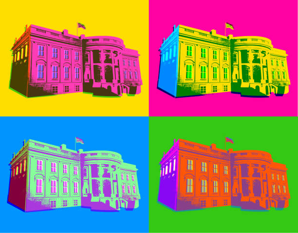 the white house in pop art style - inauguration stock illustrations