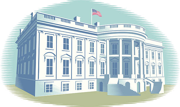 The White House The White House in Washington DC. Retro crosshatch style. CS3, CS5 and Freehand versions in zip white house stock illustrations