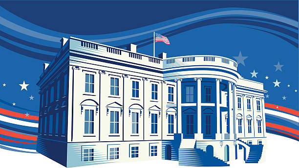 The White House The White House in Washington DC. Retro crosshatch style. CS3, CS5 and Freehand versions in zip. white house stock illustrations