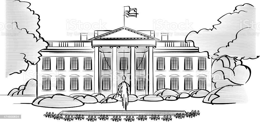 Ilustración De La Casa Blanca Y Más Vectores Libres De