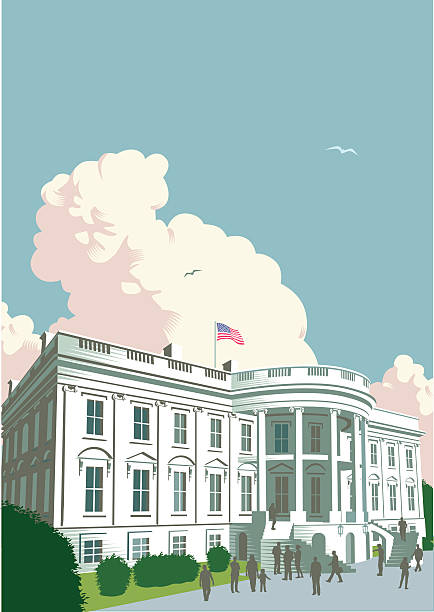 The White House The White House in Washington DC. Retro crosshatch style. EPS 10 file, CS3, CS5 and Freehand versions in zip. white house stock illustrations
