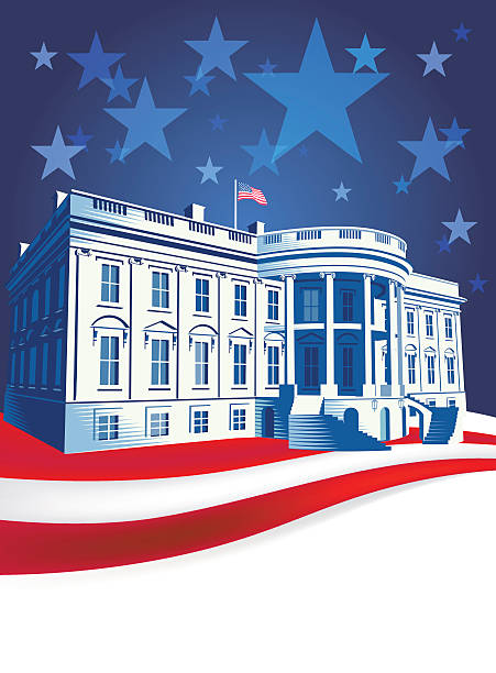 The White House The White House in Washington DC with US flag. Retro crosshatch style. EPS10 file CS5 version zip. white house stock illustrations