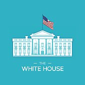 The white house concept illustration with American flag. EPS 10 file. Transparency effects used on highlight elements.