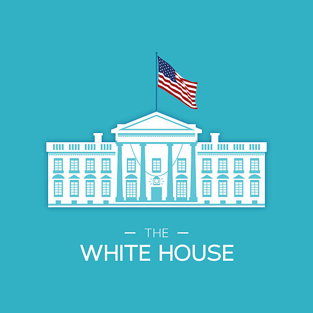 The White House The white house concept illustration with American flag. EPS 10 file. Transparency effects used on highlight elements. white house stock illustrations