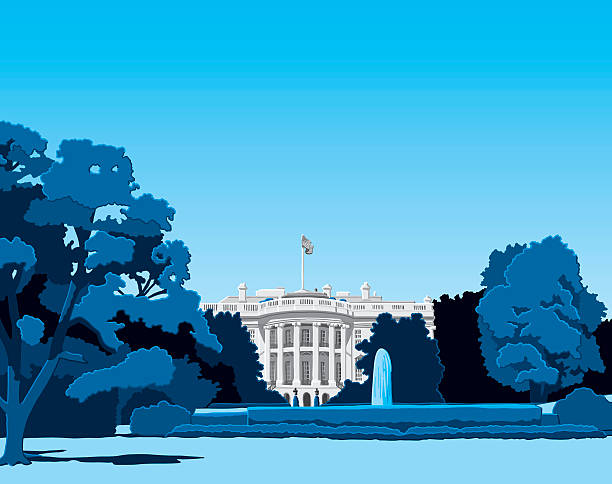 The White House Hand-drawn Vector Illustration of the White House in Washington DC. The sky is on a separate layer, so you can use the illustration on your own background. The colors in the .eps-file are ready for print (CMYK). Included files: EPS (v8) and Hi-Res JPG. white house stock illustrations