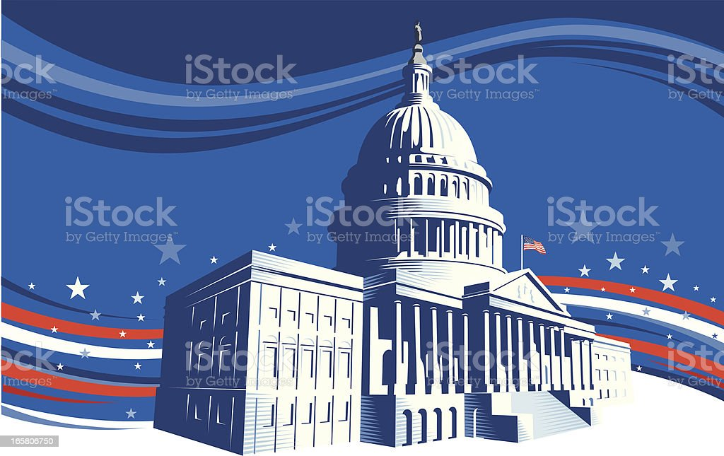 The White House with stars and stripes background vector art illustration