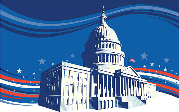 the white house with stars and stripes background - inauguration stock illustrations