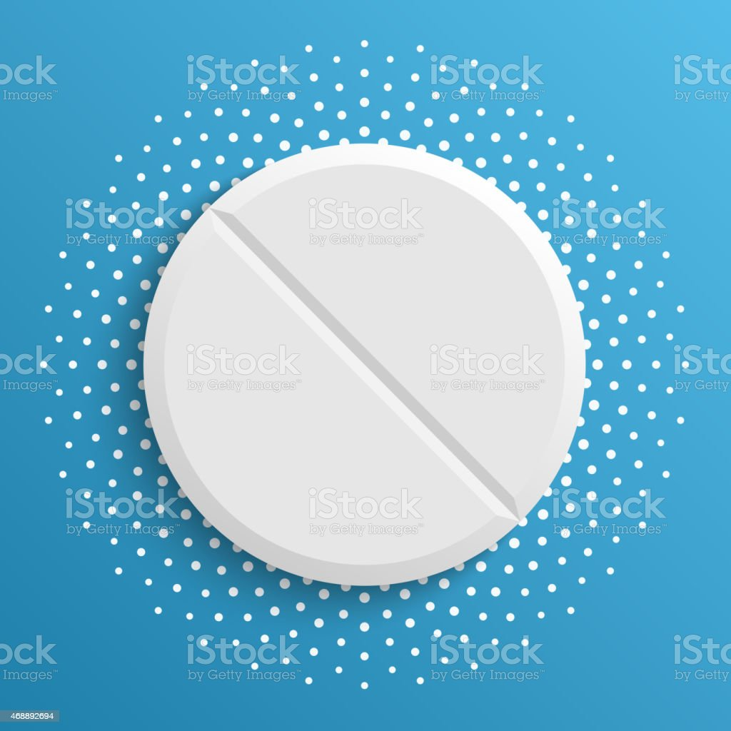 The white pill on a blue background. vector art illustration