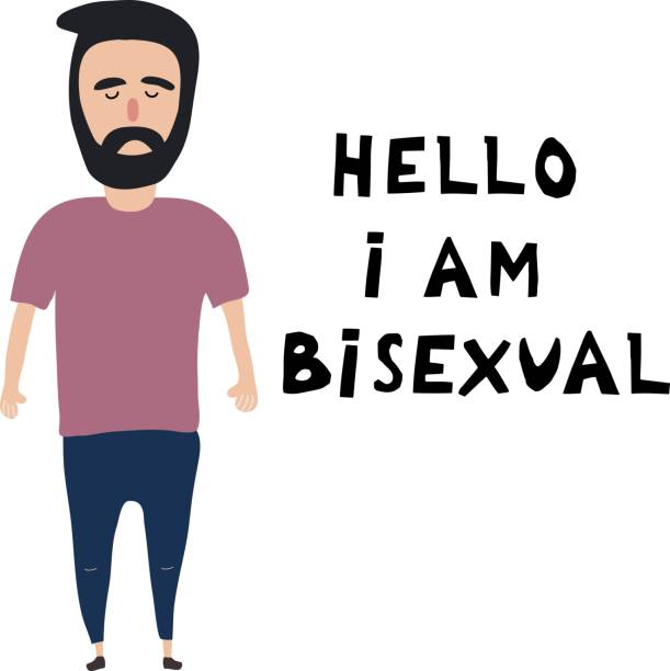 the white young man costs near an inscription: hello, i'm  bisexual. open homosexuality. coming out. lgbt concept. minority sex. flat editable vector illustration. - minority stock illustrations, clip art, cartoons, & icons