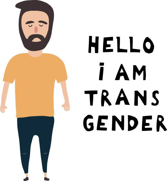 the white young man costs near an inscription: hello, i'm  transgender. open homosexuality. coming out. lgbt concept. minority sex. flat editable vector illustration. - minority stock illustrations, clip art, cartoons, & icons