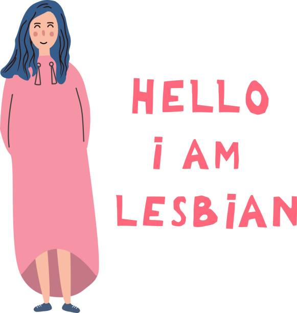 the white young woman costs near an inscription: hello, i'm  lesbian. open homosexuality. coming out. lgbt concept. minority sex. flat editable vector illustration. - minority stock illustrations, clip art, cartoons, & icons