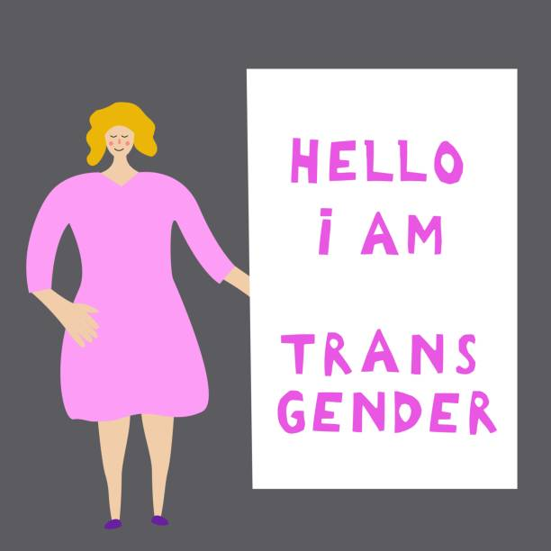 the white young woman costs near an inscription: hello, i'm  transgender. open homosexuality. coming out. lgbt concept. minority sex. flat editable vector illustration. - minority stock illustrations, clip art, cartoons, & icons