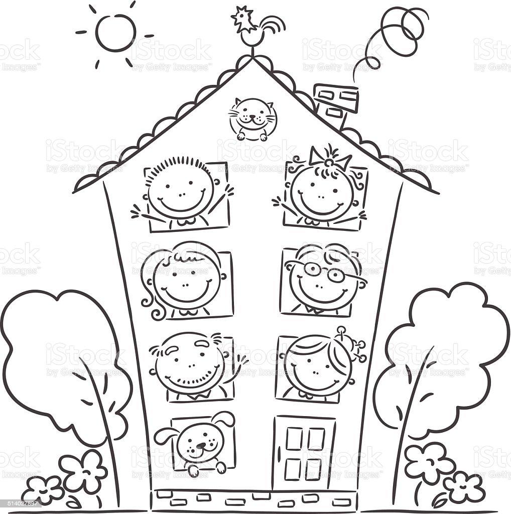 Ilustración de Toda La Gran Familia Está En Su Hogar Lejos Del Hogar ...