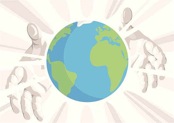 The Whole World In His Hands vector art illustration