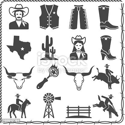 The Wild West Ranch Life black and white royalty free vector interface icon set. This editable vector file features black interface icons on white Background. The icons in this vector set include cowboy, cowboy vest, pants and boots. The map of Texas, cactus plant, cowgirl outfit, cowgirl long boots, bull's scull, branding stamp bull riding, and wild west farm.