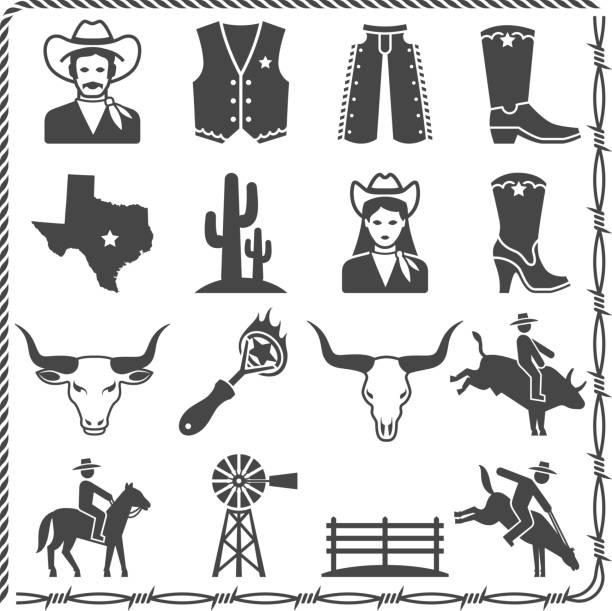 das leben auf einer ranch wild west & schwarz-weißen icon-set - cowboystiefel stock-grafiken, -clipart, -cartoons und -symbole