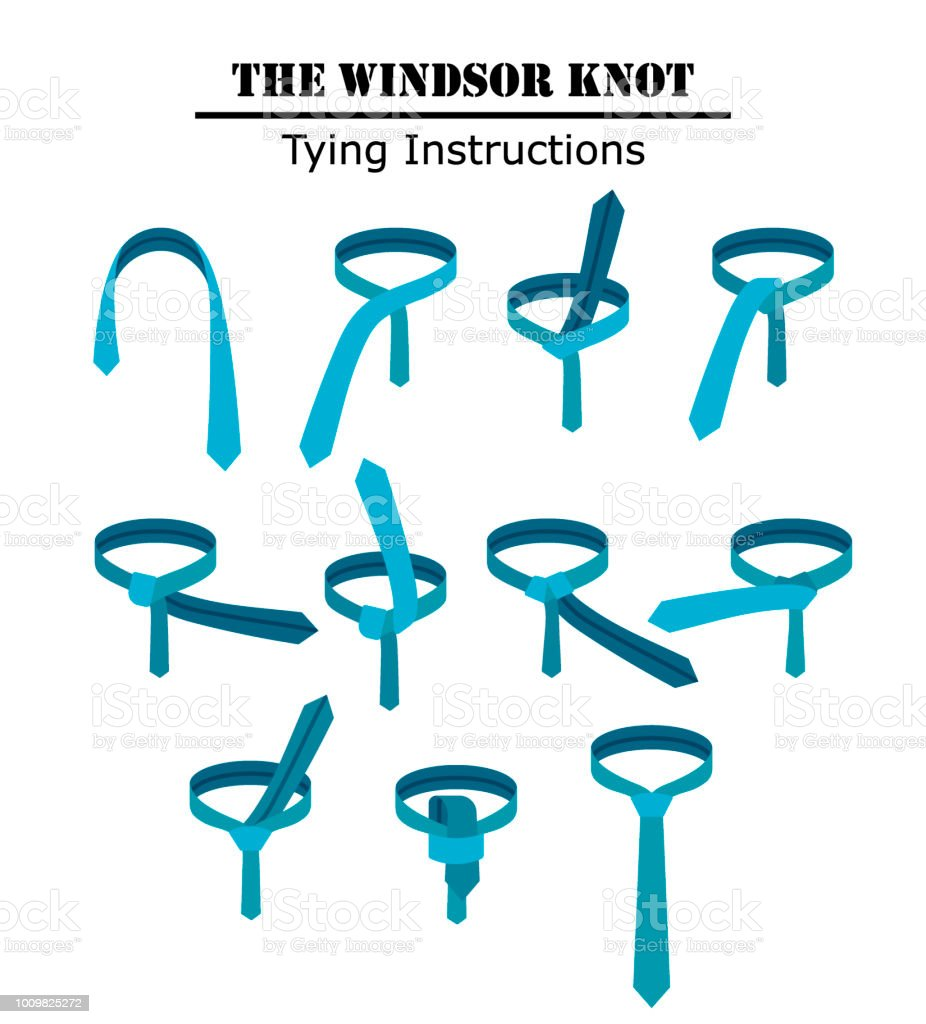 The Windsor Tie Knot Instructions Isolated On White Background Guide How To A With Silk Clothing Dress Necktie Shirt