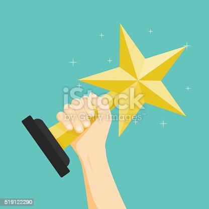 istock The winner, Hand holding winner's trophy award. Vector illustrat 519122290