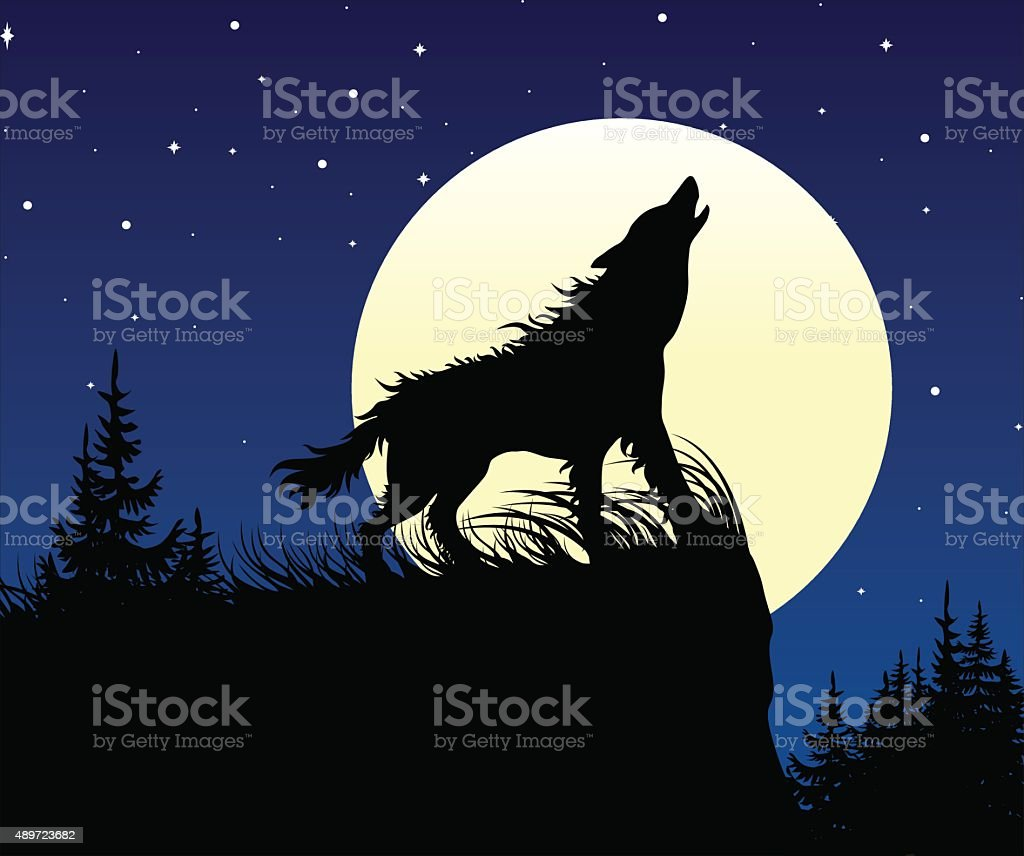 The wolf howling on the full moon at night. vector art illustration