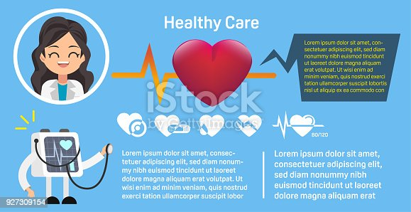 istock The woman doctor who advised on the treatment of heart diseases. Serious treatment. Hospital is not so terrible. icon set. Basic info-graphic. 927309154